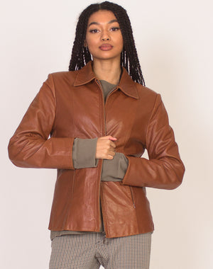 TAN LEATHER ZIP UP JACKET