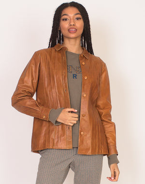 TAN PLEATED LEATHER SHACKET