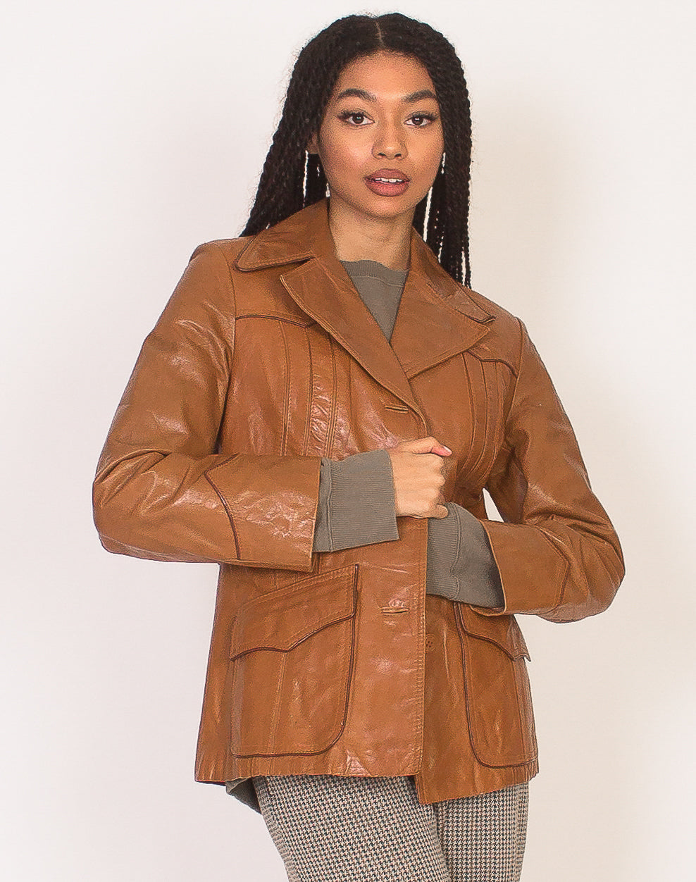 70'S BROWN LEATHER JACKET