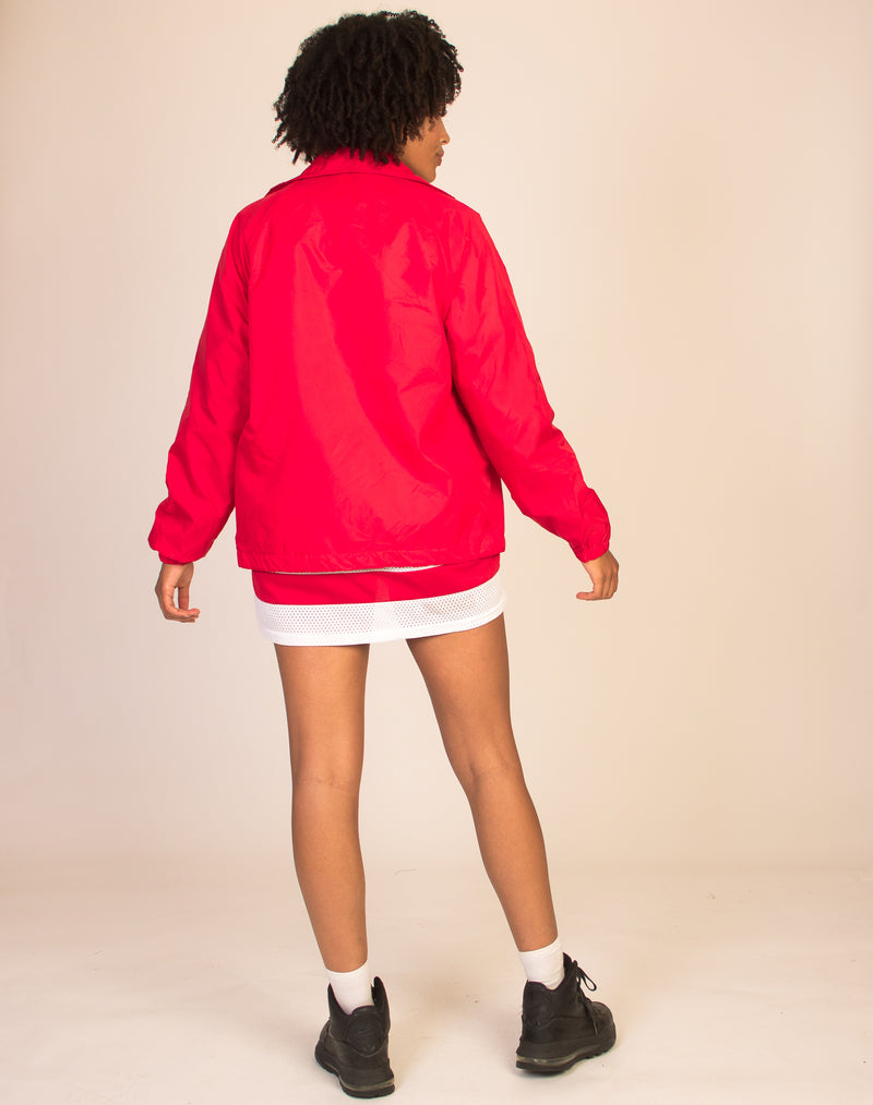 RED WATERPROOF COACH JACKET