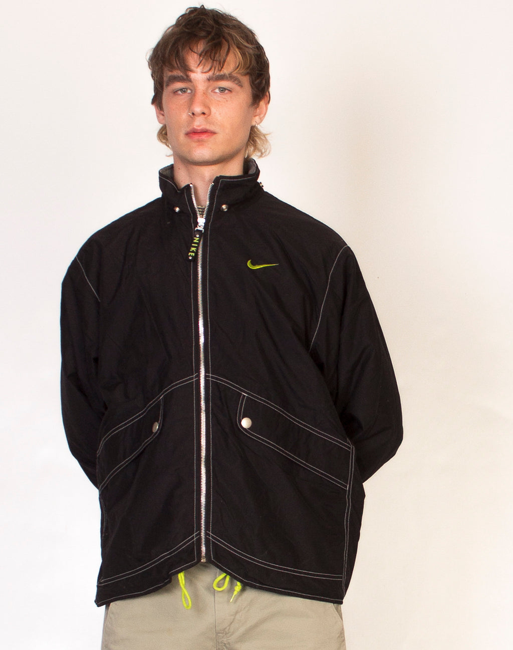 NIKE BLACK AND LIME TRACK JACKET
