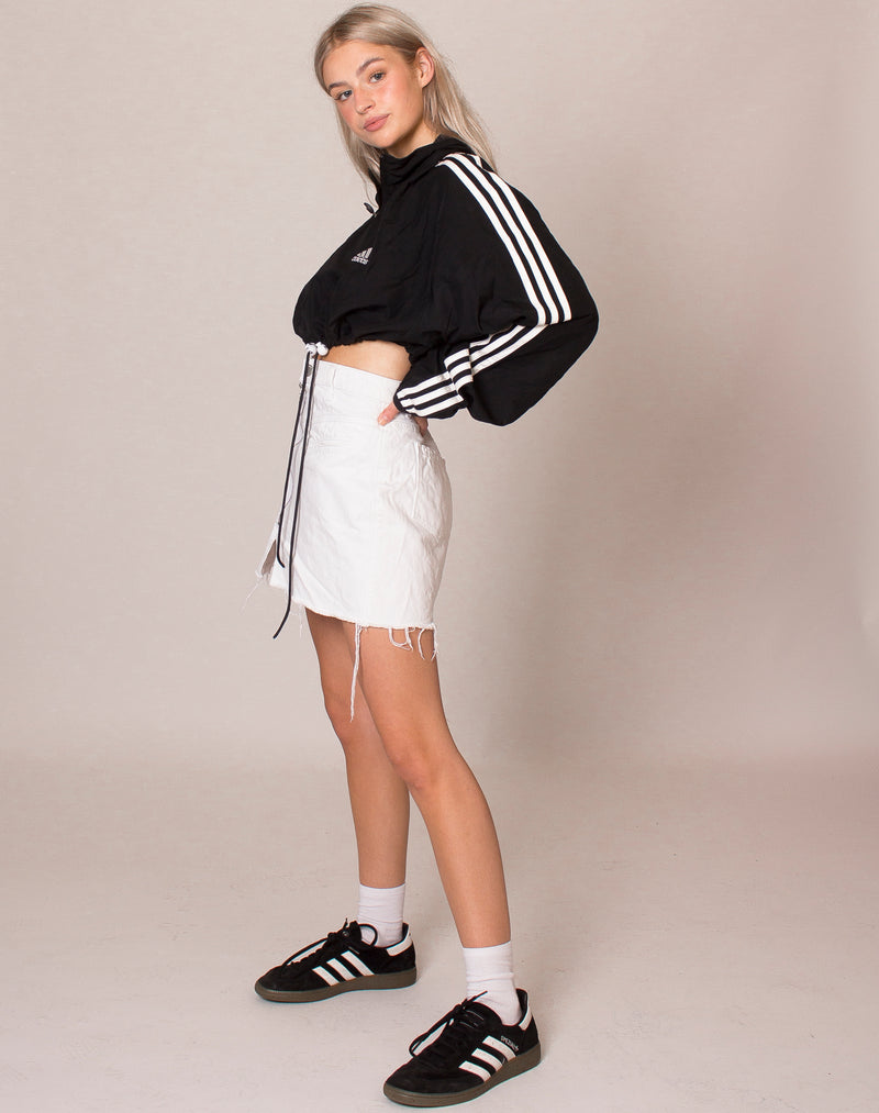 ADIDAS BLACK AND WHITE CROPPED WINDBREAKER