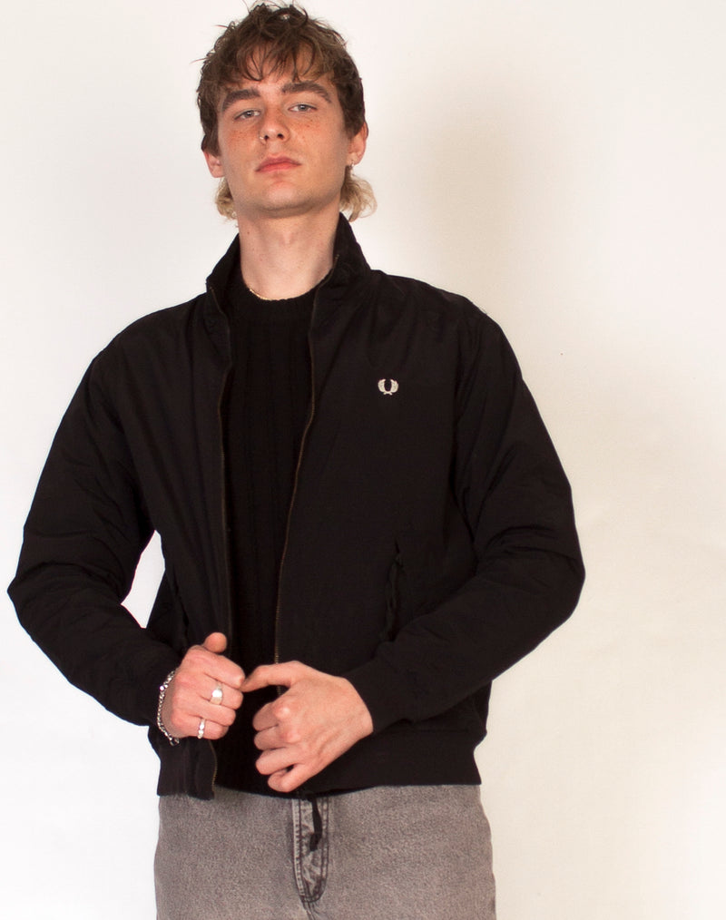 FRED PERRY BLACK WATERPROOF COACH JACKET