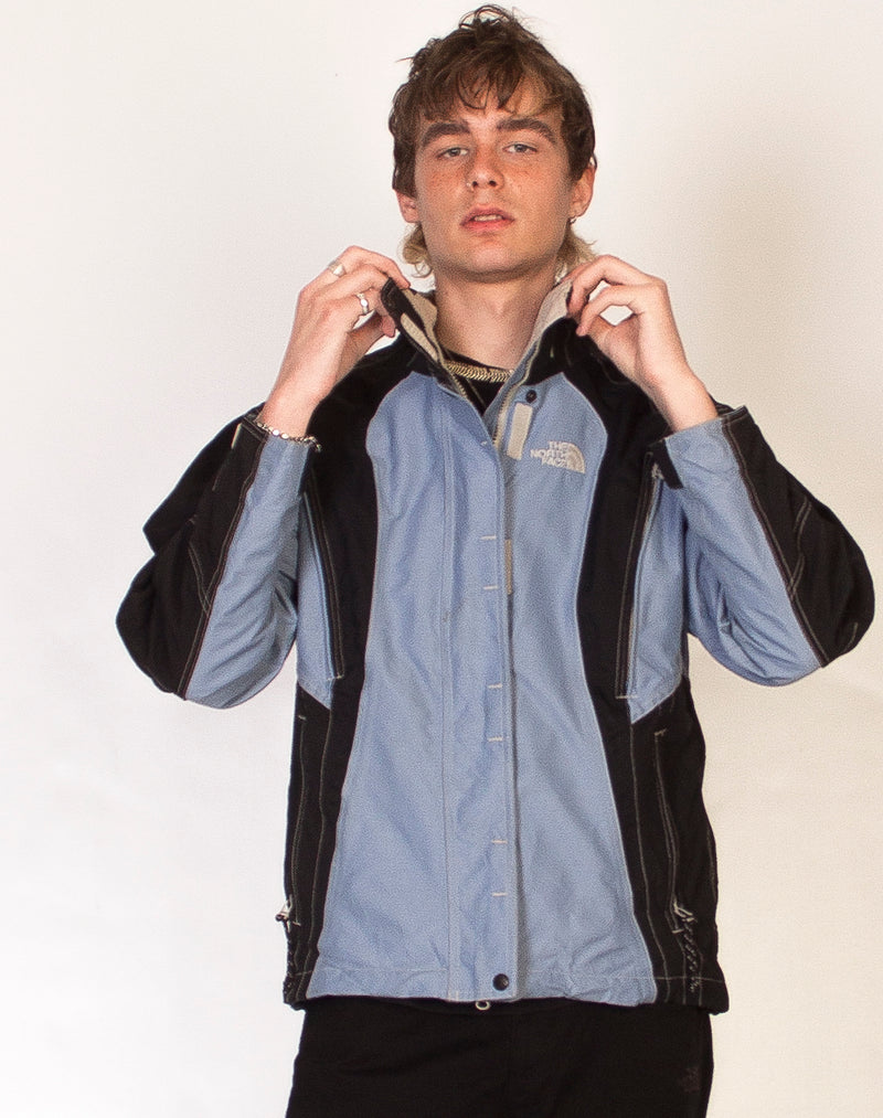 NORTH FACE BLUE AND BLACK WATERPROOF JACKET