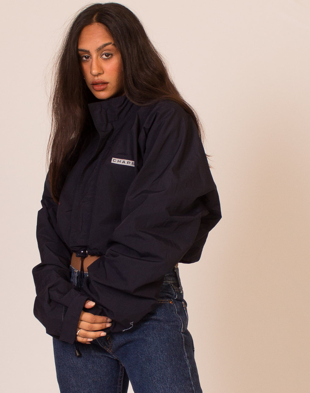 CHAPS CROPPED NAVY WINDBREAKER
