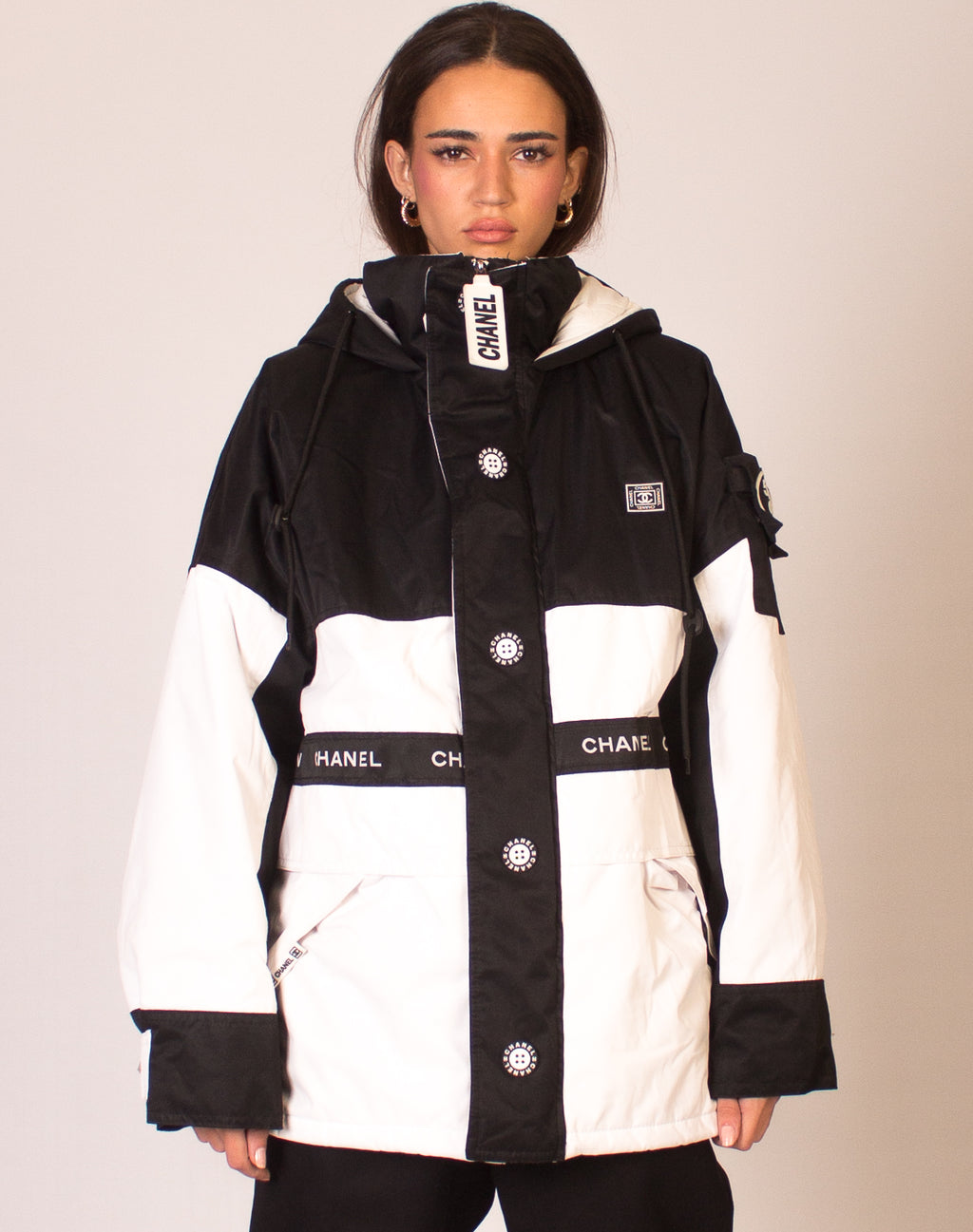 FAUX CHANEL MONOCHROME PUFFER COAT