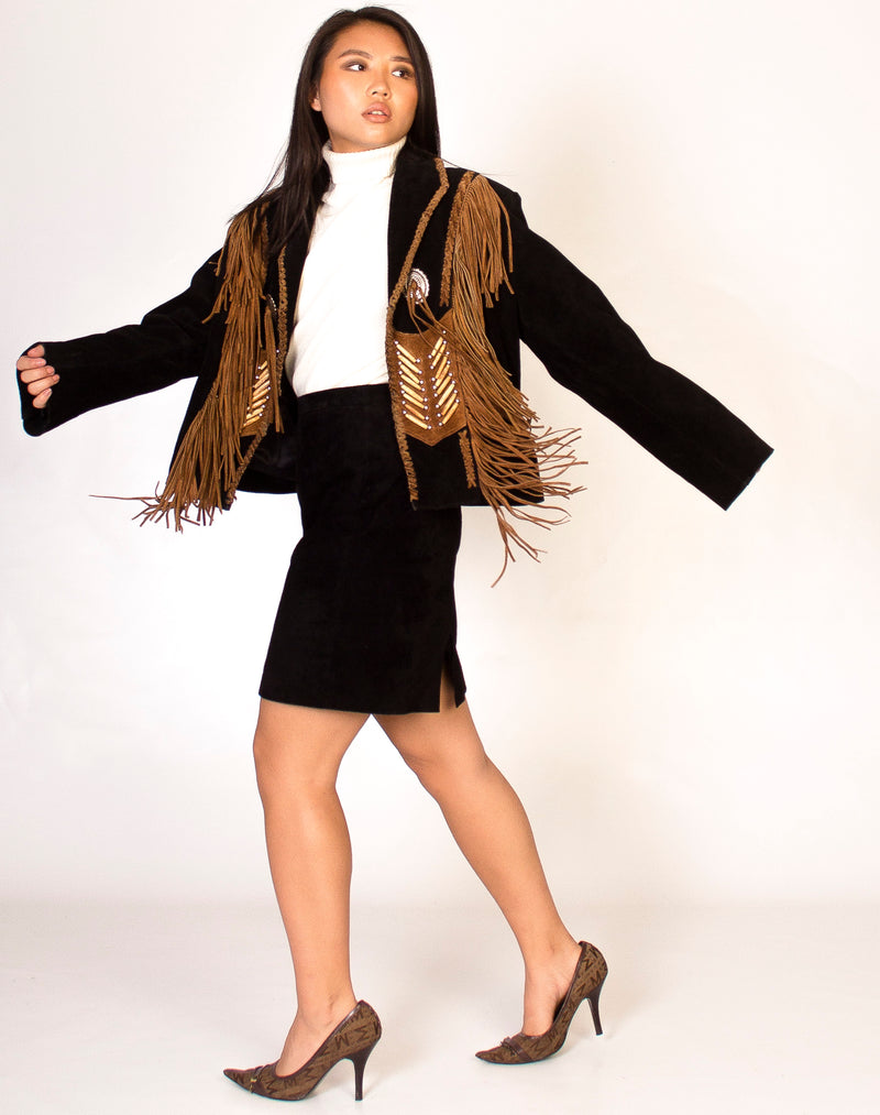 BLACK AND BROWN FRINGED JACKET