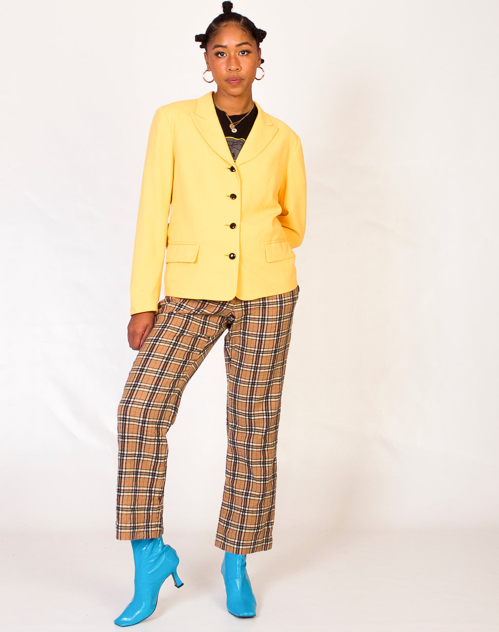 YELLOW CONTRAST BUTTON BLAZER