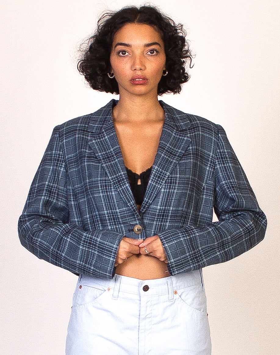 BLUE CHECK CROPPED BLAZER