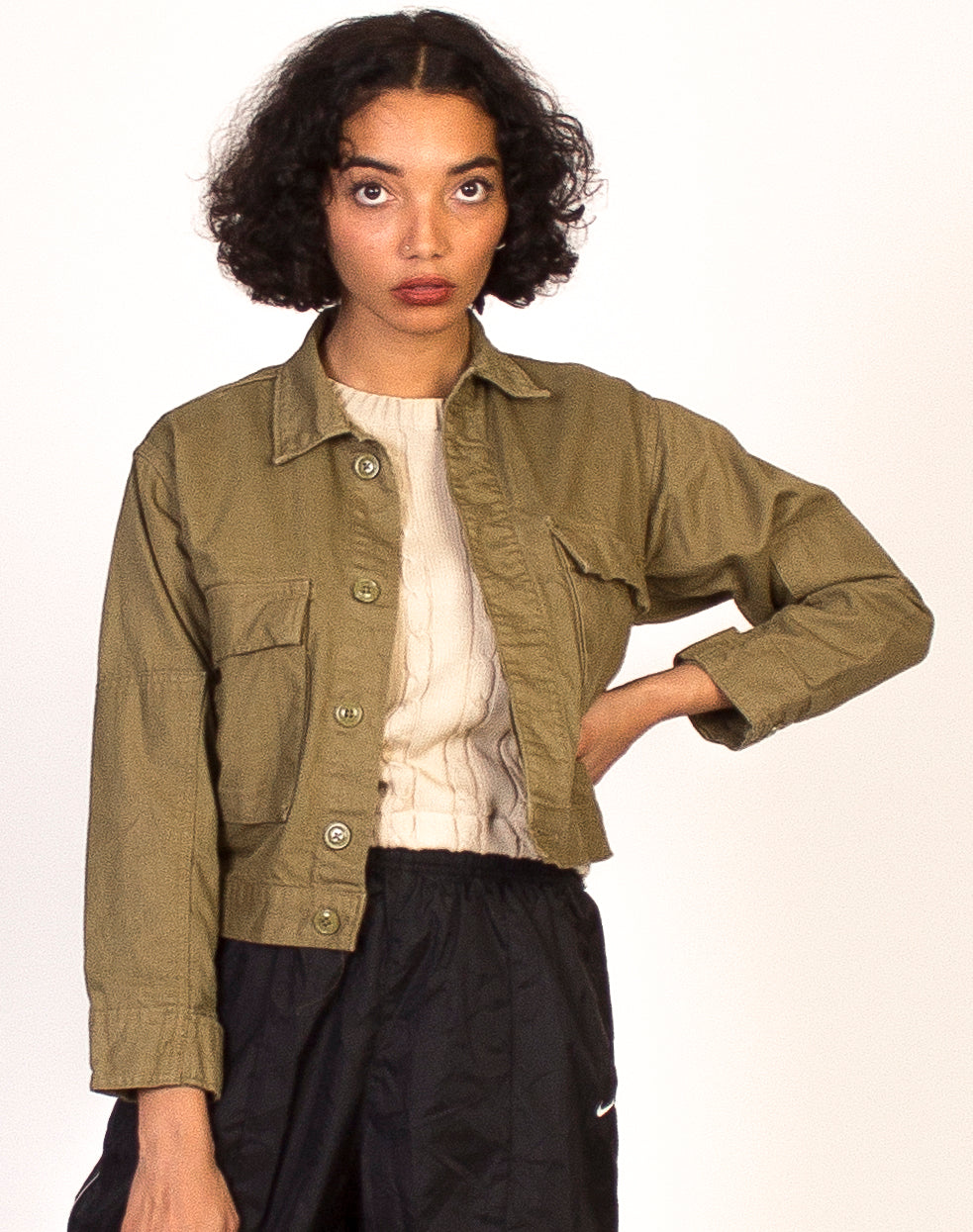 KHAKI CROPPED ARMY SHACKET