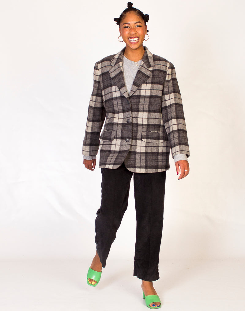 BRUSHED WOOL CHECK GREY BLAZER