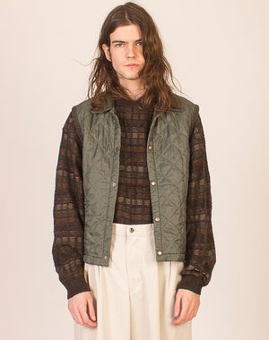 GREEN CONTRAST COLLAR QUILTED GILET