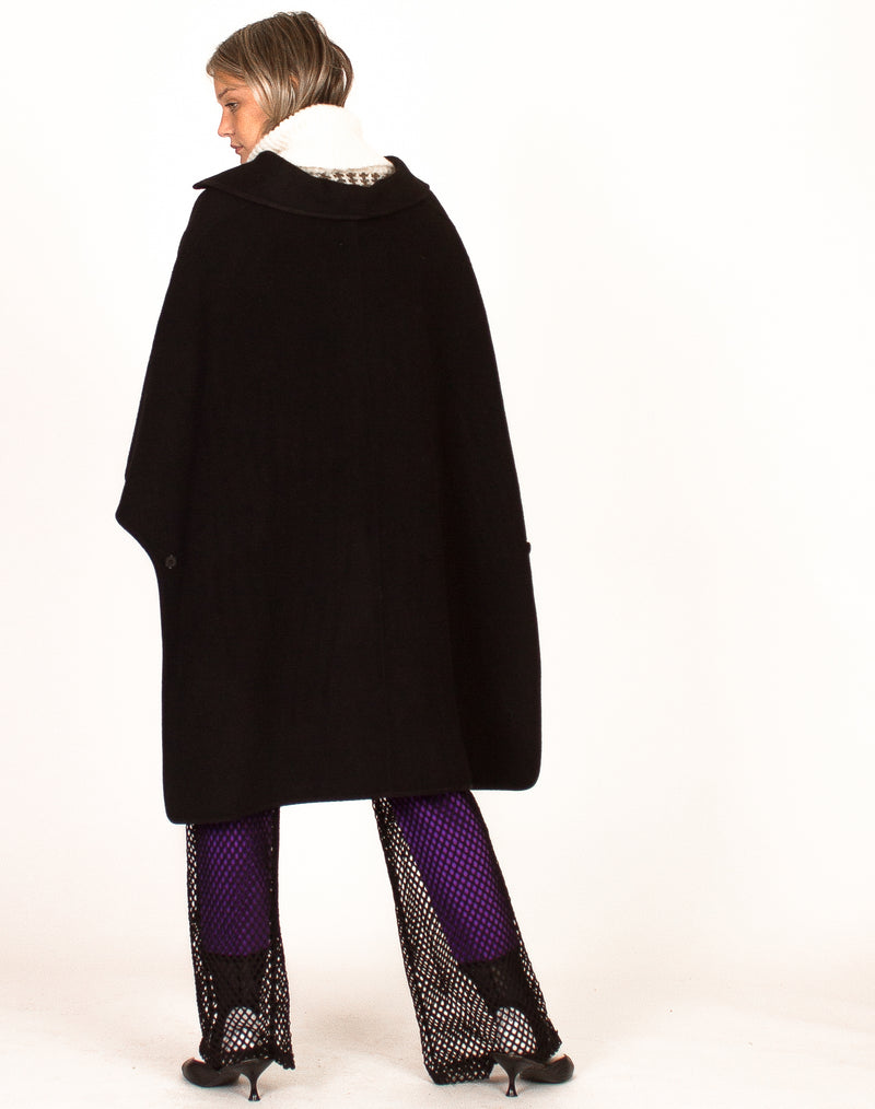 BLACK WOOL PONCHO