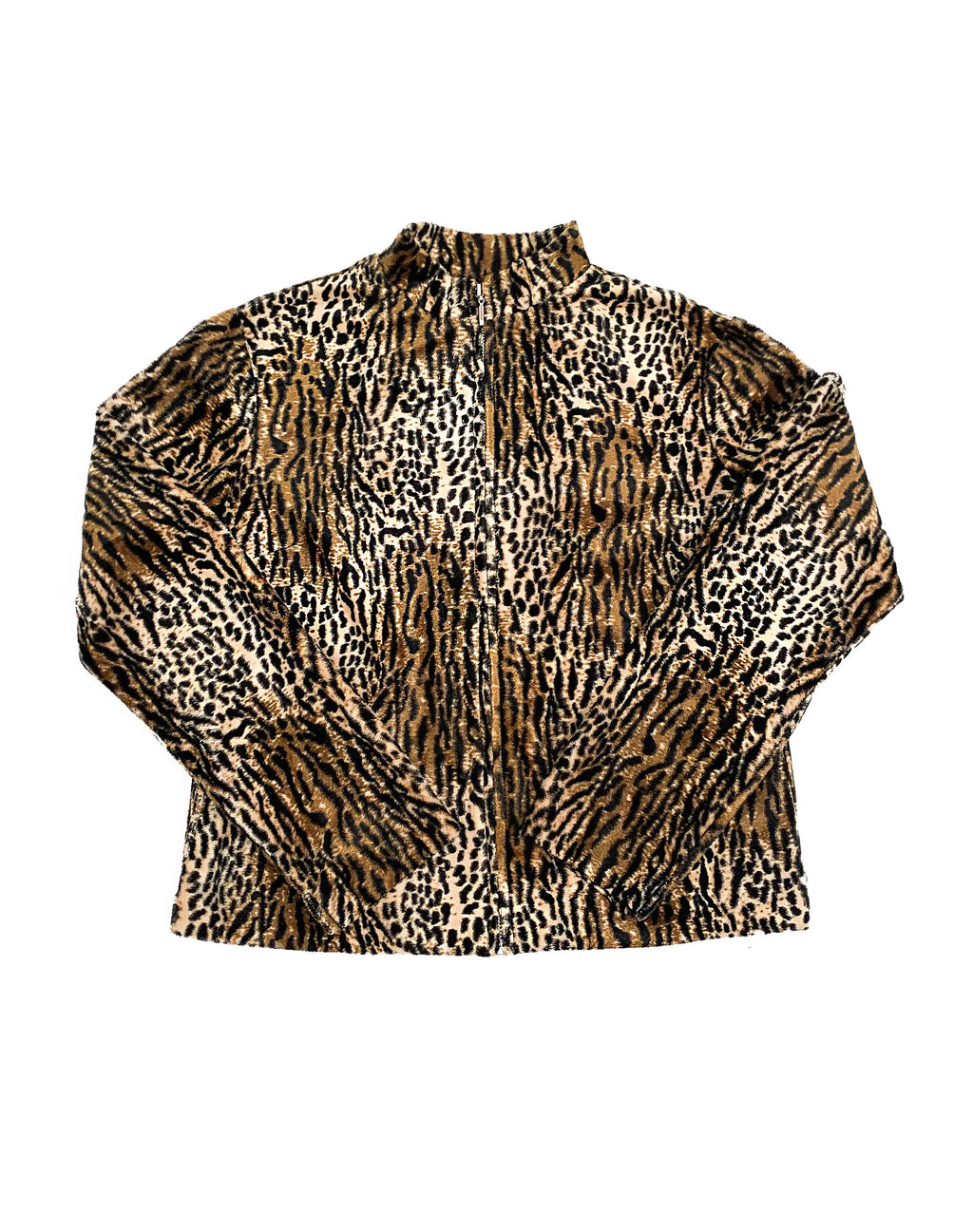 TEXTURED LEOPARD PRINT JACKET