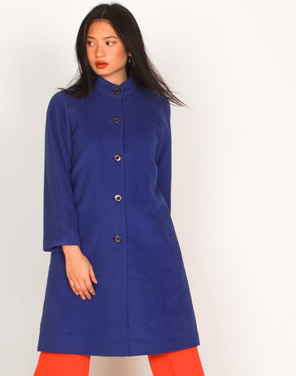 ROYAL BLUE WOOLLEN SWING JACKET