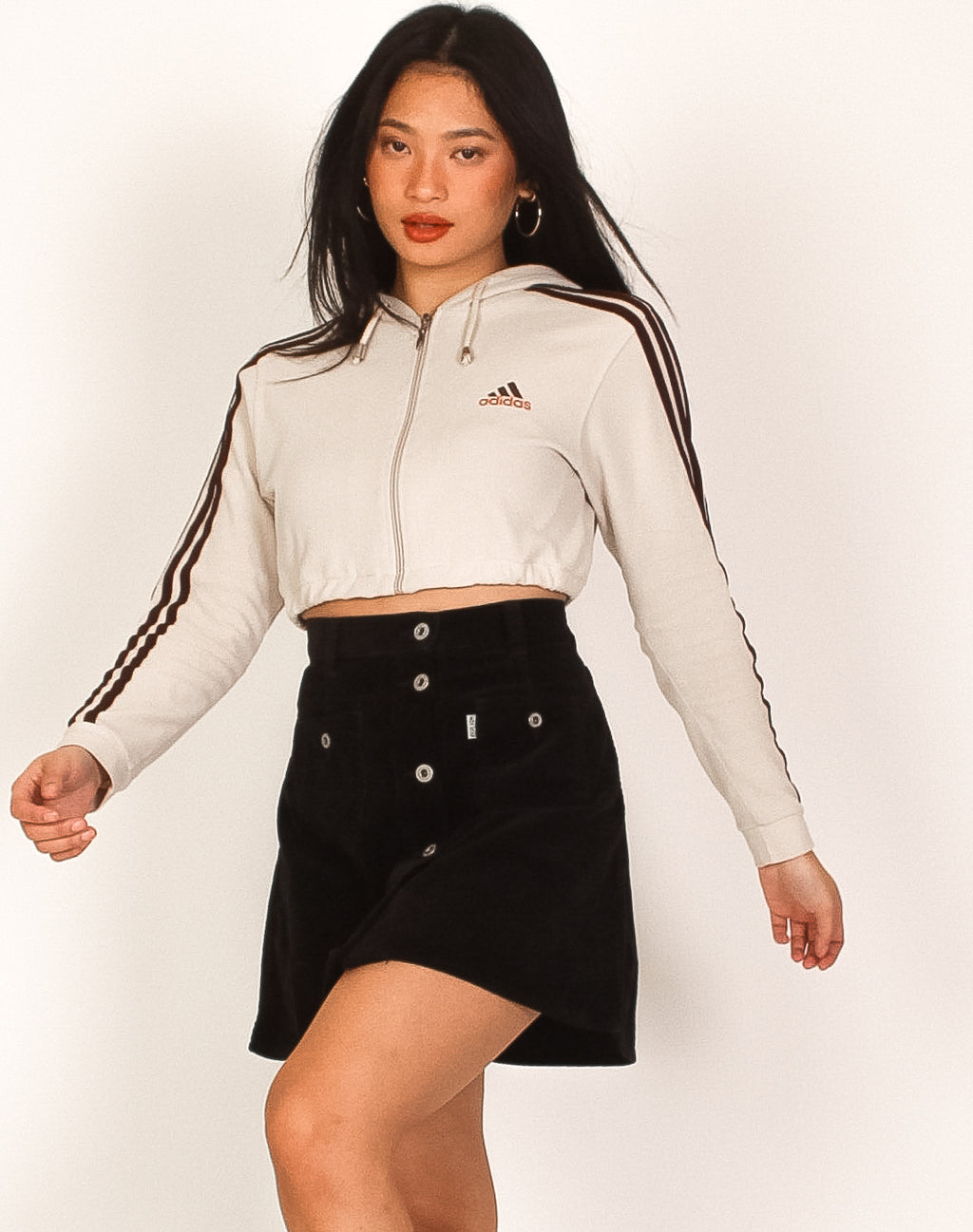 ADIDAS CREAM CROPPED HOODIE