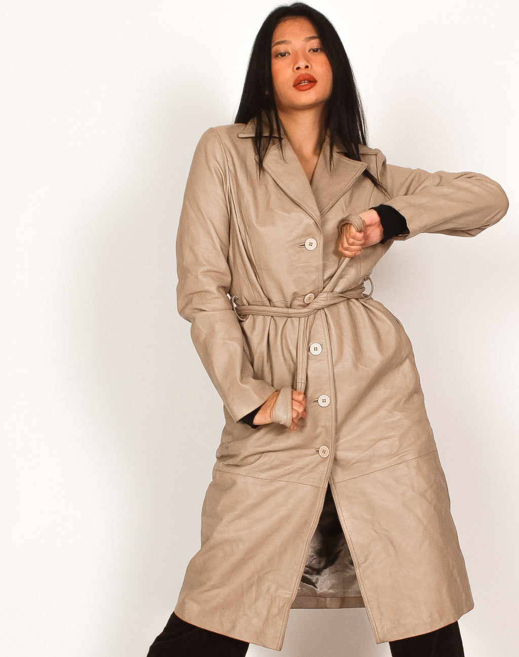 CREAM LEATHER BELTED TRENCH