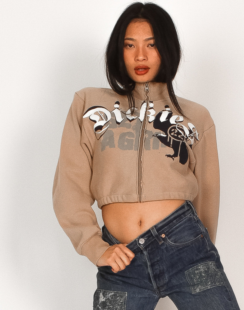 DICKIES CROPPED ZIP UP SWEATER