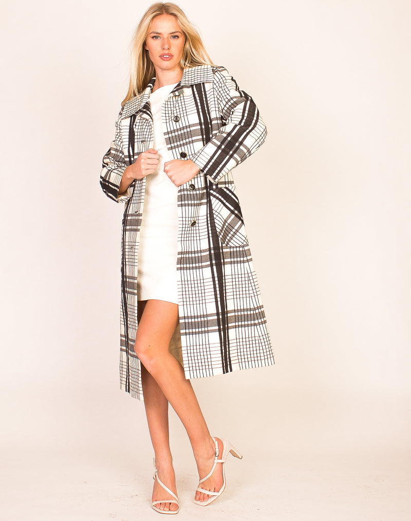 BLACK AND WHITE CHECK TRENCH