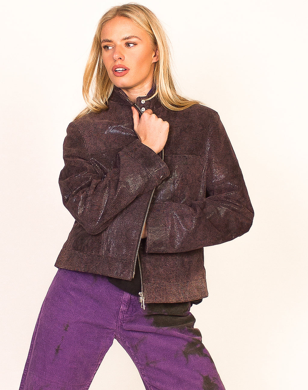PURPLE SNAKESKIN Y2K BIKER JACKET
