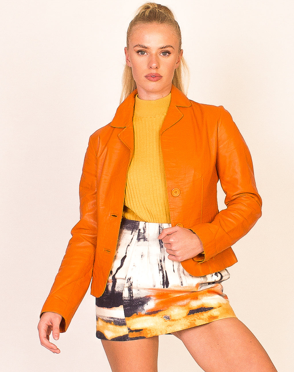 TANGERINE LEATHER BUTTON UP JACKET