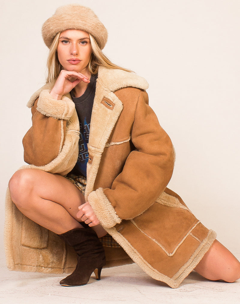 BEIGE FUR COLLAR PUFFER COAT