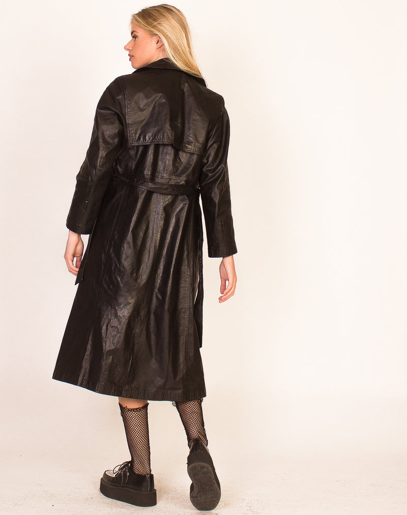 BLACK LEATHER BUCKLE TRENCH COAT