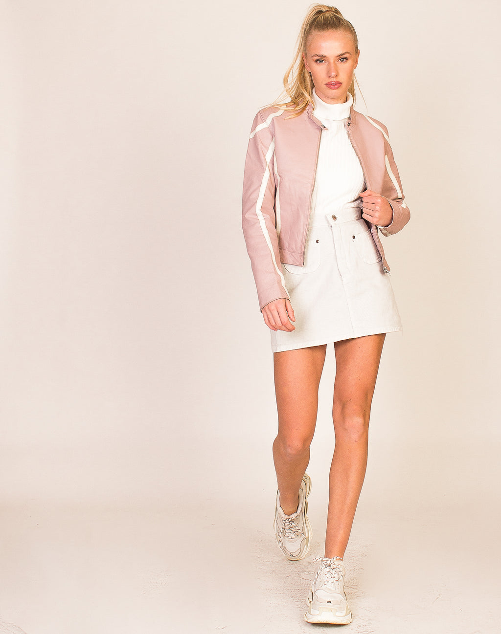 BABY PINK LEATHER BIKER JACKET