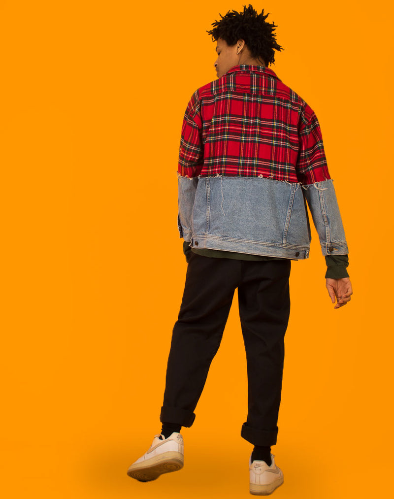 LEE SPLIT TARTAN DENIM JACKET