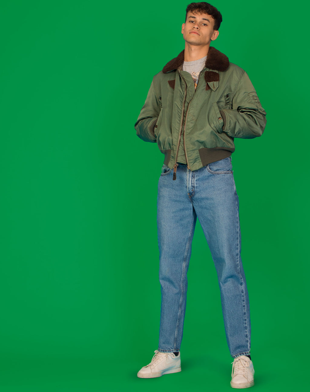 ARMY ISSUE GREEN BOMBER JACKET