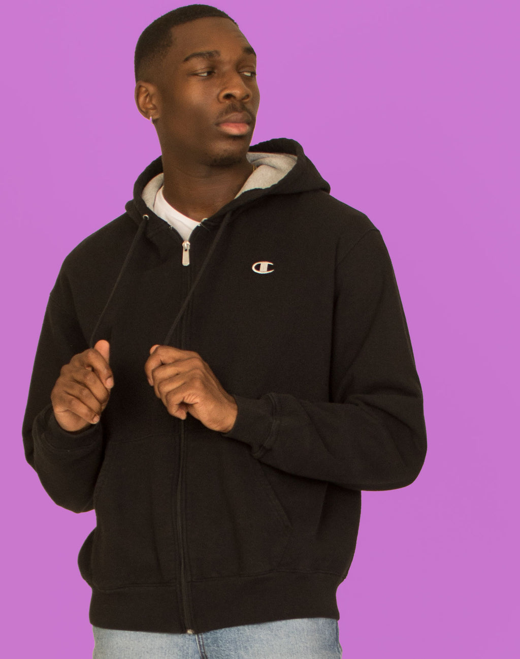 CHAMPION BLACK ZIP UP HOODIE