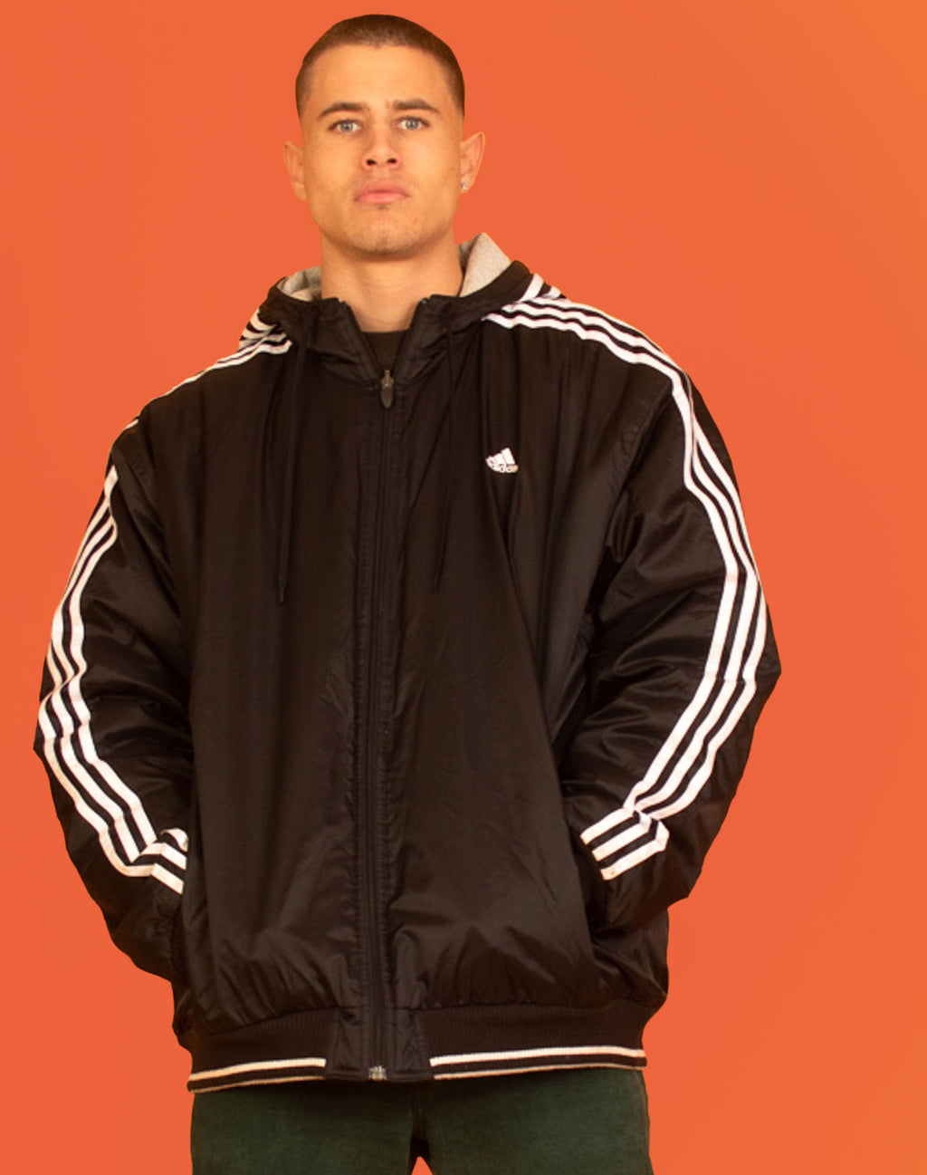 ADIDAS BLACK REVERSIBLE BOMBER JACKET