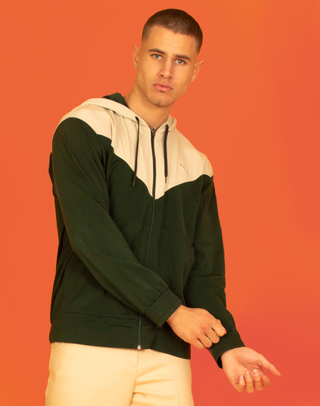 PUMA GREEN AND CREAM HOODIE