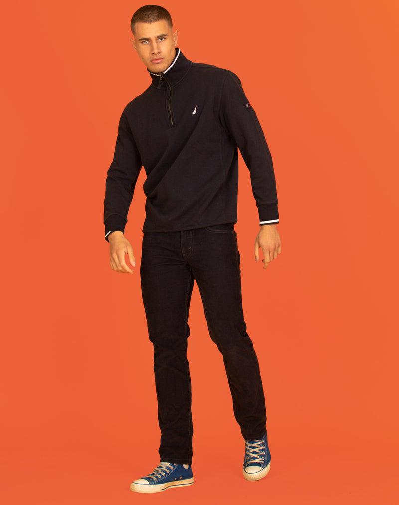 NAUTICA ZIP NECK NAVY JUMPER