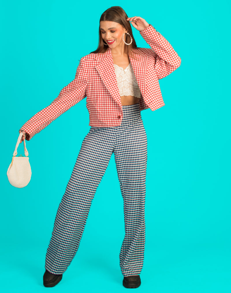 RED HOUNDSTOOTH CROPPED BLAZER