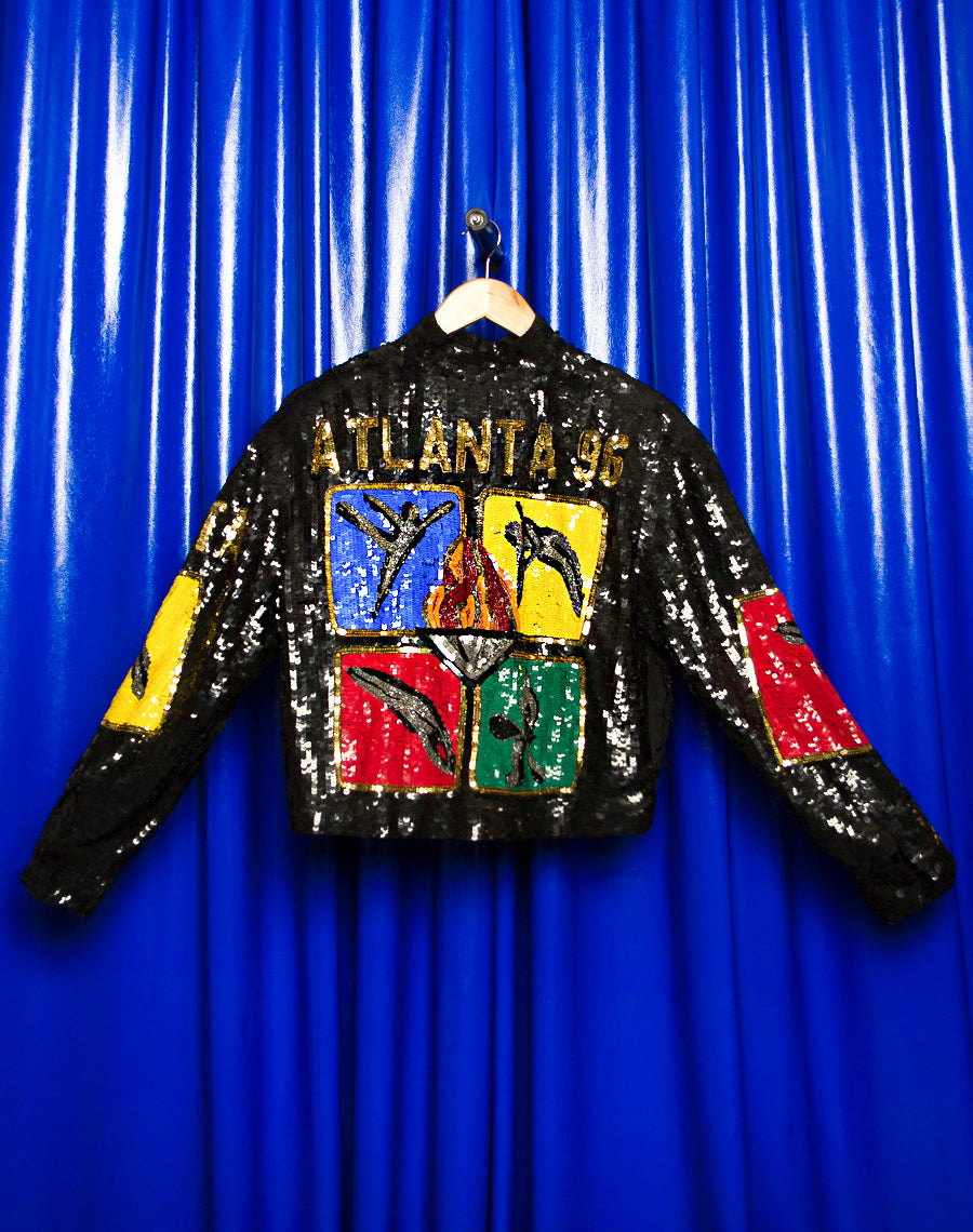 90S SEQUINED SILK BOMBER JACKET