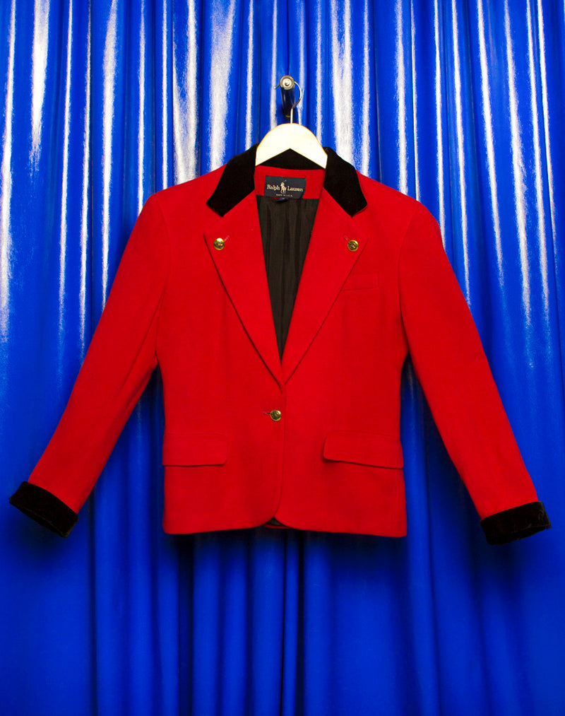 RALPH LAUREN RED AND BLACK BLAZER