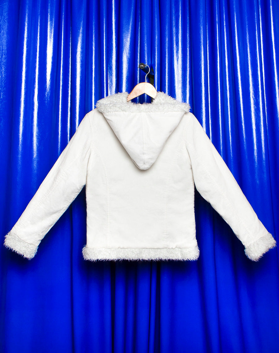 WHITE CORD HOODED JACKET