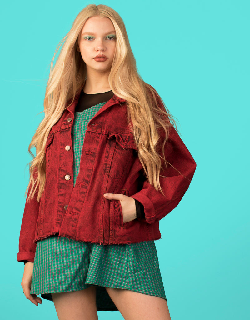 LEVI'S FRAYED RED DENIM JACKET