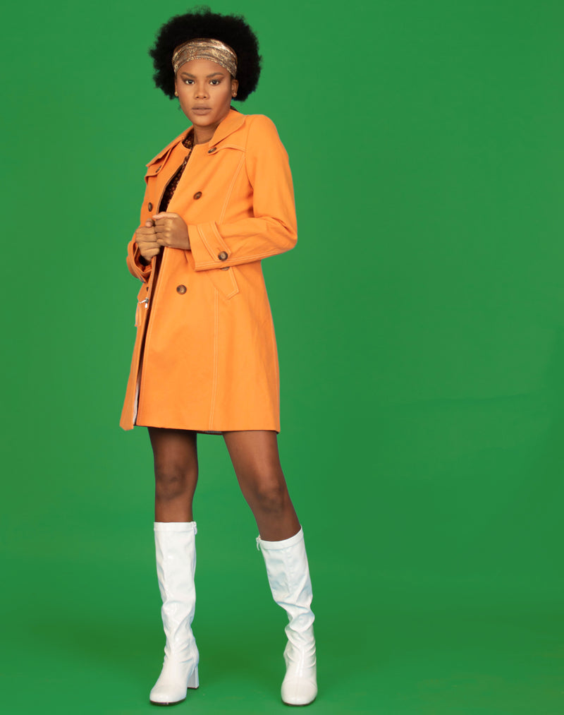 SHERBET ORANGE TRENCH COAT
