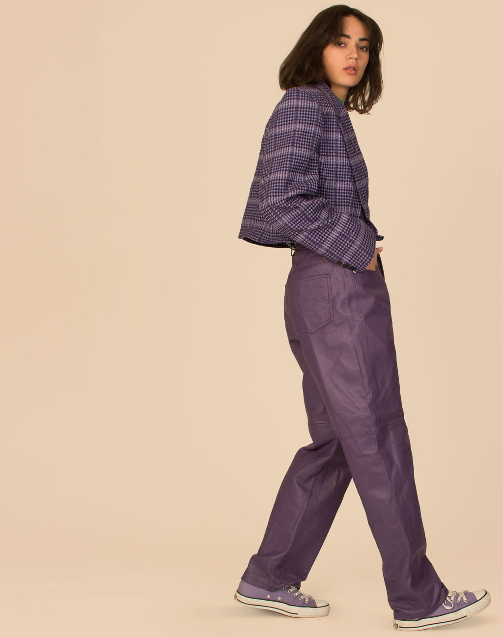 PURPLE CHECK WOOL CROPPED BLAZER