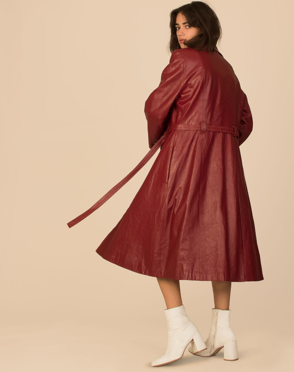 OXBLOOD LEATHER TRENCH COAT