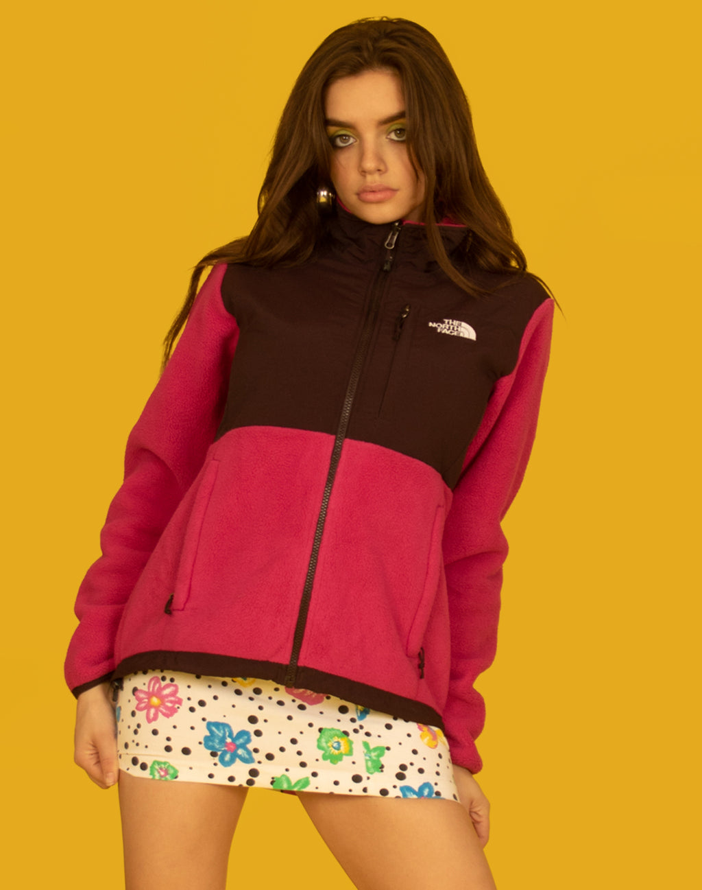 NORTH FACE PANELLED FUSCHIA FLEECE