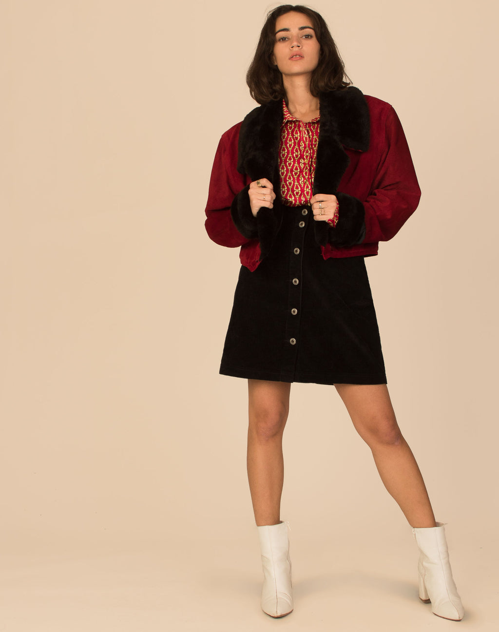 RED SUEDE CROPPED AFGHAN COAT