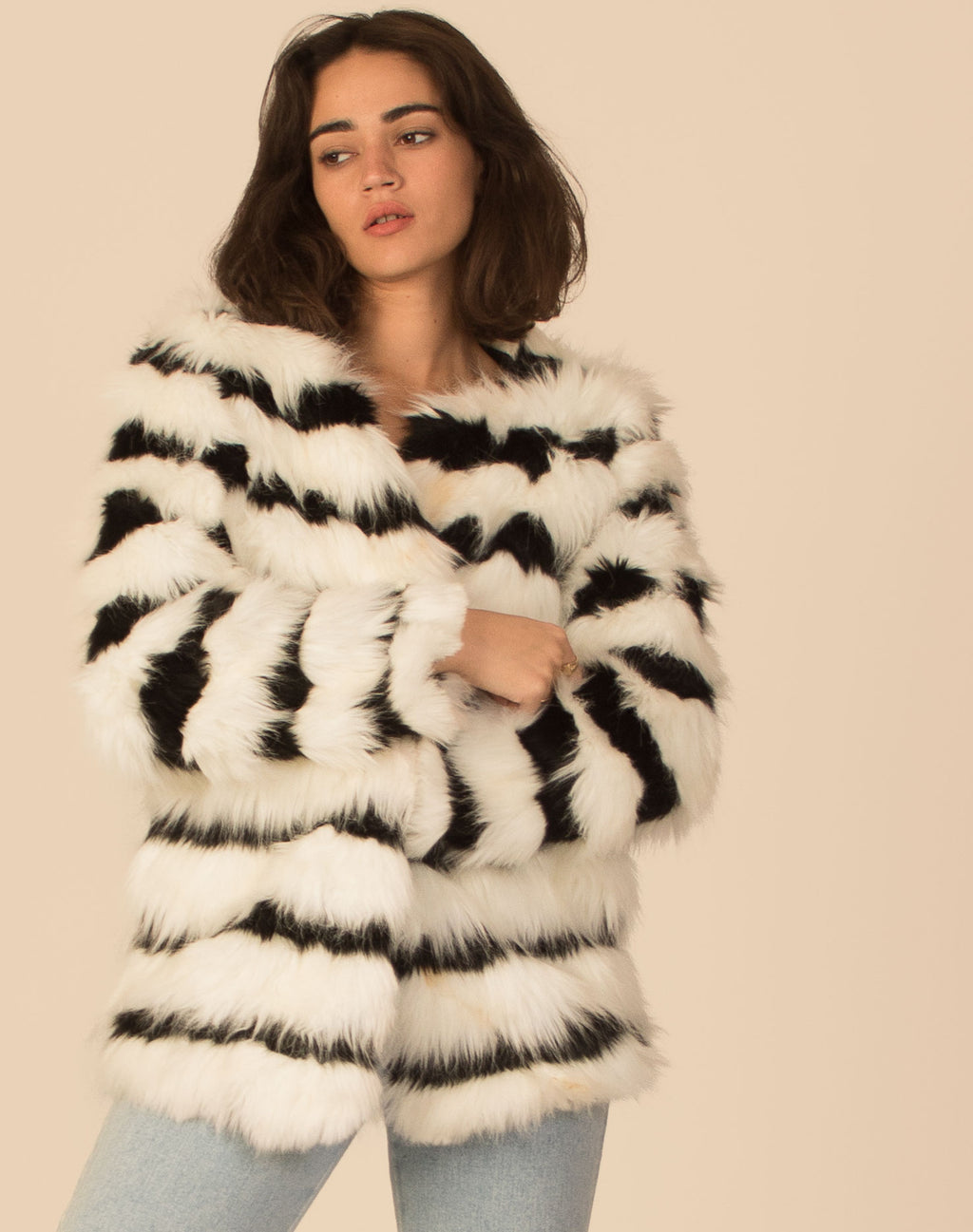 MONO STRIPE FAUX FUR COAT