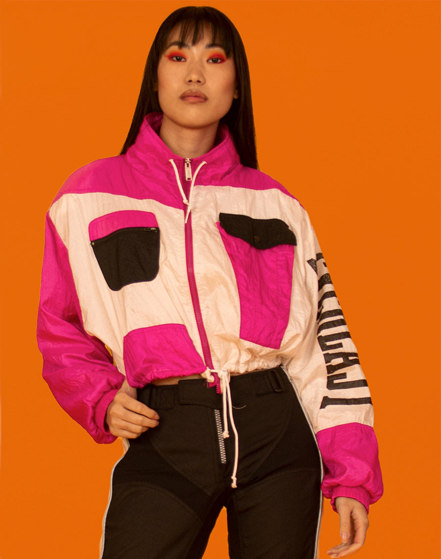 EVERLAST PINK AND WHITE CROPPED JACKET