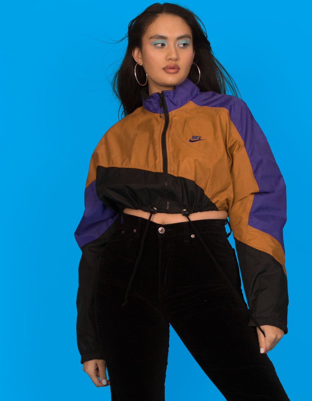 NIKE COLOUR BLOCK CROPPED JACKET