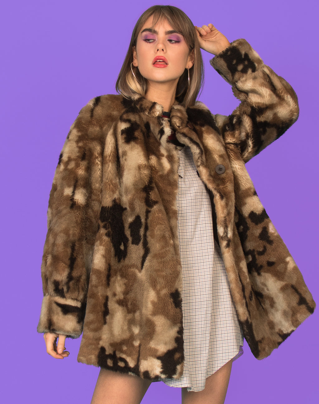CAMO PRINT FAUX FUR COAT