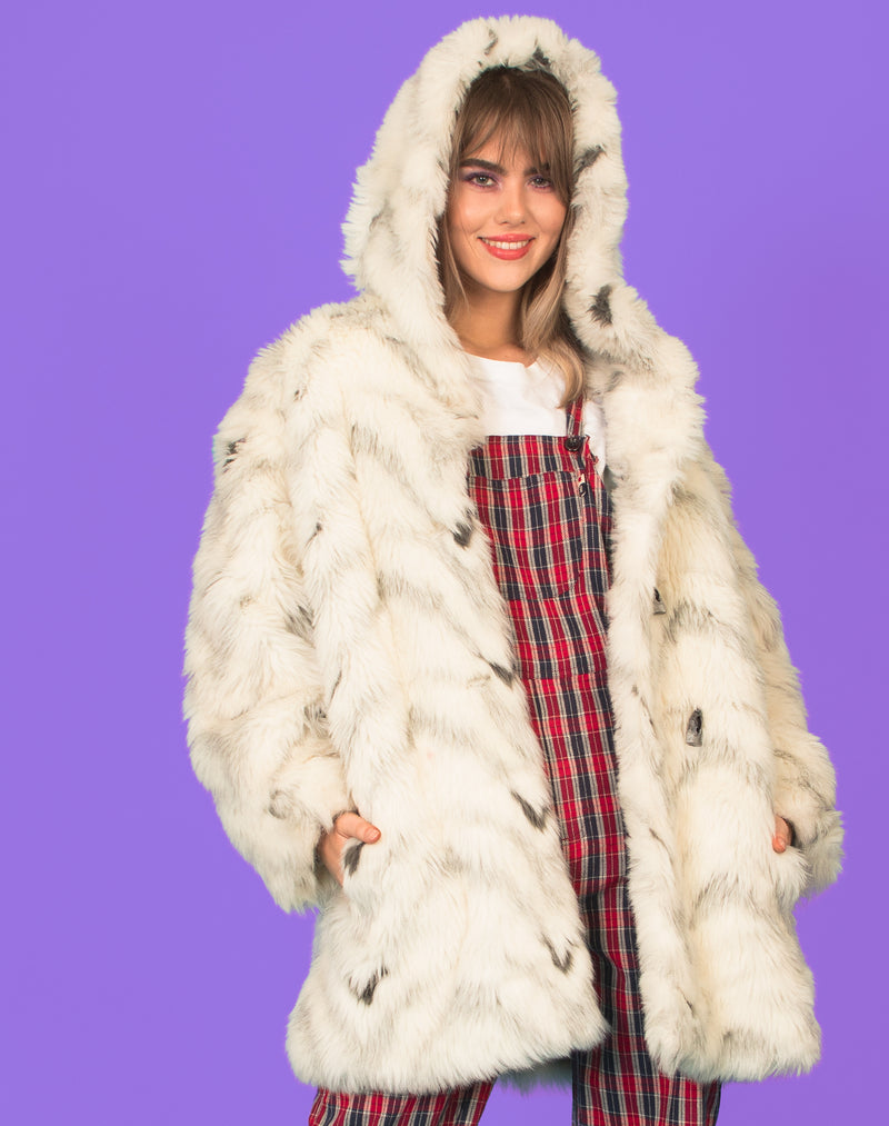 WHITE SPECKLED FAUX FUR COAT