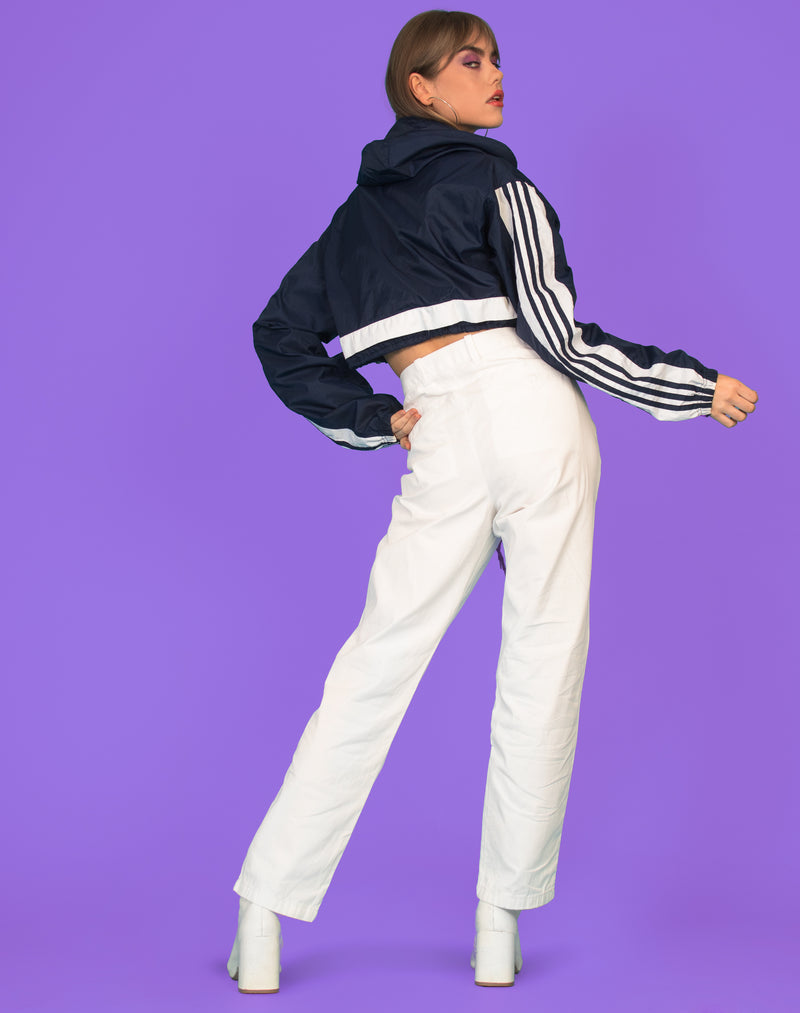ADIDAS NAVY CROPPED WINDBREAKER